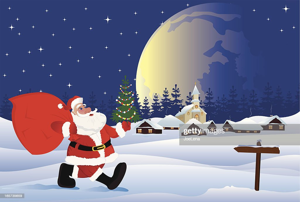 Santa Claus Coming To Christmas Village Vector Art