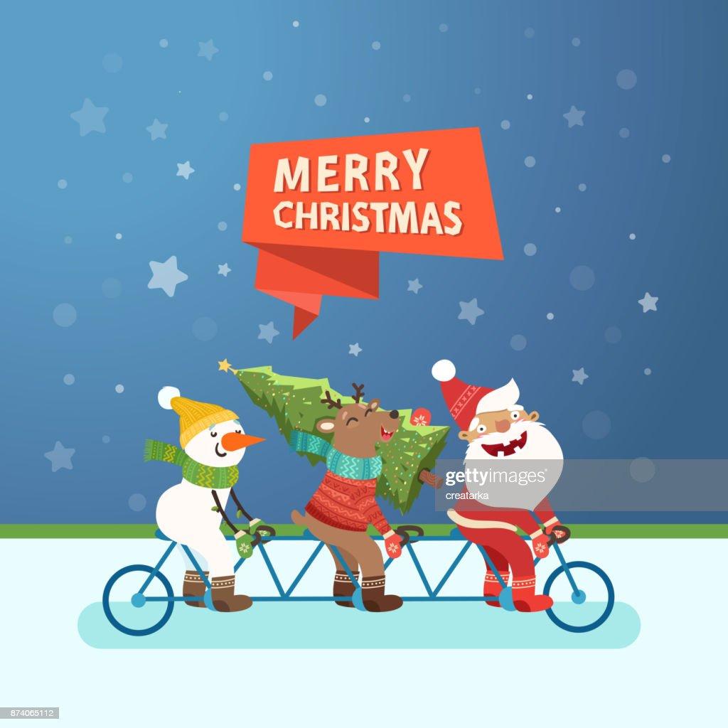 Santa Claus, Deer and Snowman riding a tandem bike