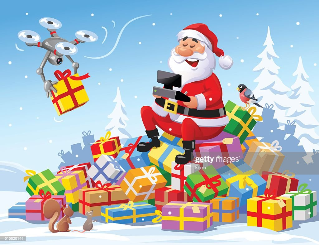 santa claus delivering christmas presents with a drone vector art - Santa Claus With Presents