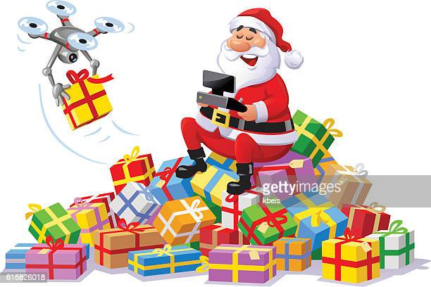 santa claus delivering parcels with a drone - drone stock illustrations, clip art, cartoons, & icons