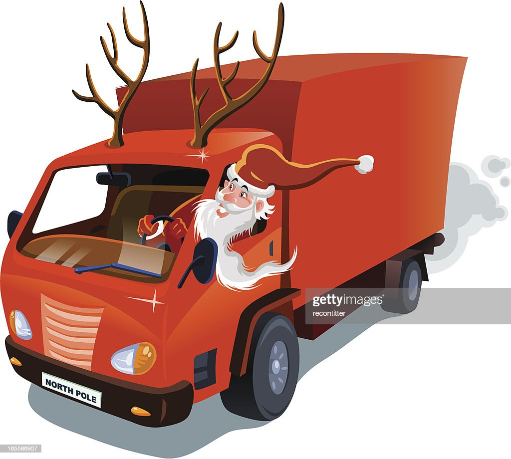Semi Truck Seats >> Santa Claus Delivery Service Vector Art | Getty Images