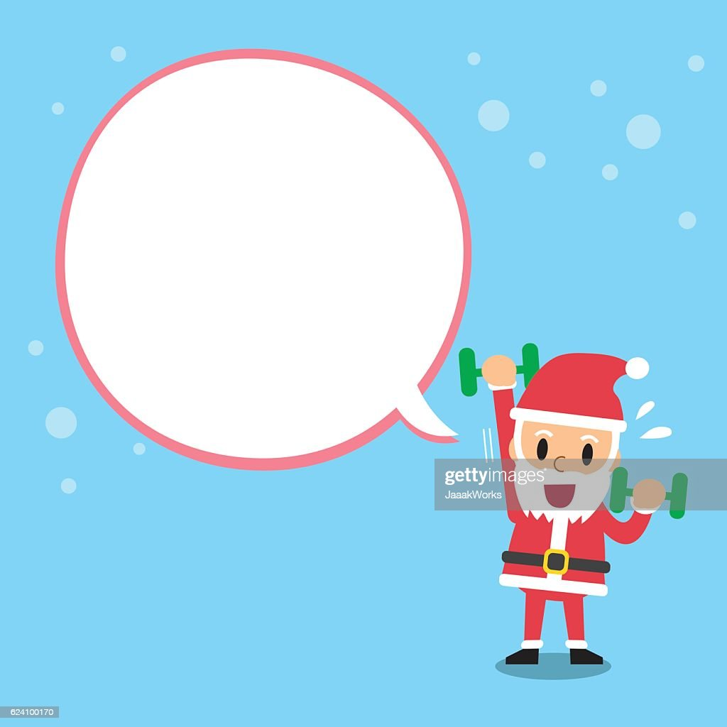 Santa claus doing dumbbell exercise with white speech bubble