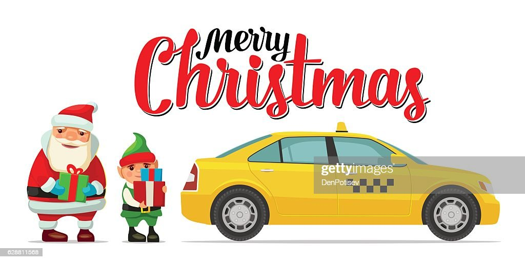 Santa Claus, elf and taxi with shadow and boxes.