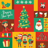 Santa Claus elf kids helpers vector illustration children celebrate Cristmas party. Santa helpers in traditional costume Xmas 2019 background. Elf christmas kids