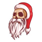 Santa claus emotions. Part of christmas set. Dead, skull. Ready