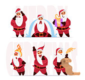 Santa claus expressions and different poses. Christmas characters