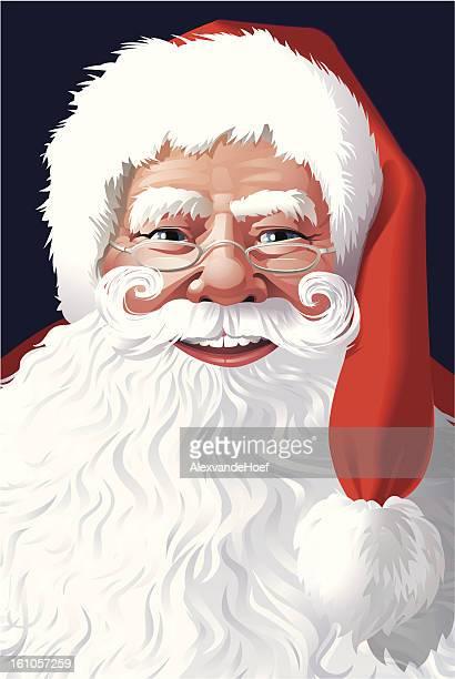 Santa Claus Face with Santa-Hat and Beard