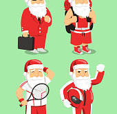 Santa Claus Father Christmas Office, Backpacker, tennis and motorcyclist