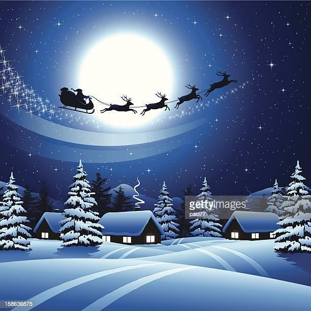 サンタクロースの空に飛ぶ - サンタ ソリ点のイラスト素材/クリップアート素材/マンガ素材/アイコン素材