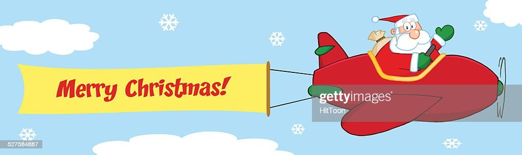 Santa Claus Flying With Christmas Plane And Banner Attached
