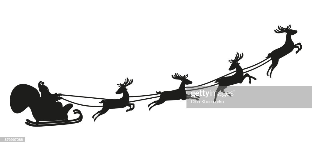 Santa Claus flying with deer. Silhouette