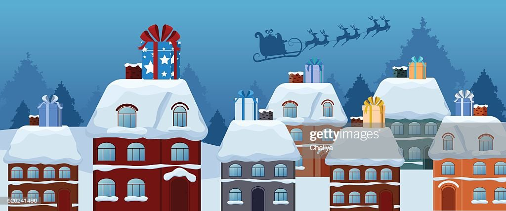 Santa claus flying with reindeer sleigh, big gift on roof