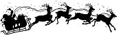 santa claus gift on sleigh