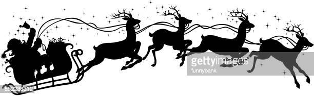 santa claus gift on sleigh - santa claus stock illustrations