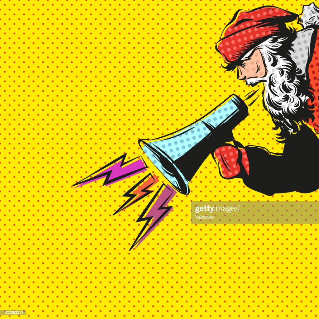 Santa Claus hand drawn with loudspeaker, vector illustration