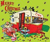 Santa Claus has a rest.Caravan Christmas.