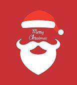 Santa Claus hat and beard- vector illustration