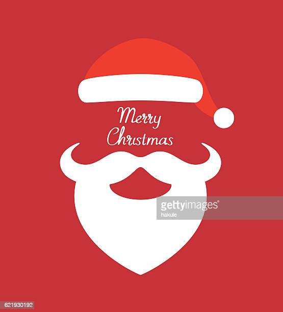ilustraciones, imágenes clip art, dibujos animados e iconos de stock de santa claus hat and beard- vector illustration - santa claus