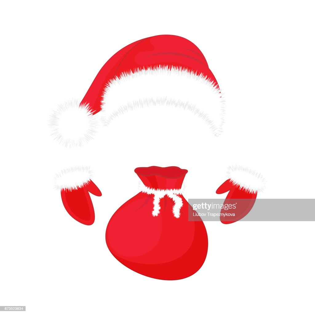 Santa Claus hat, gloves and a bag of gifts. Christmas symbols.