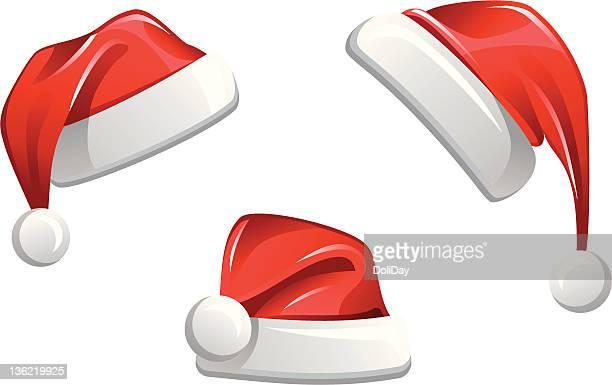 weihnachtsmann claus hut - mütze stock-grafiken, -clipart, -cartoons und -symbole