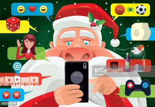 illustrations, cliparts, dessins animés et icônes de père noël en s'amusant avec smartphone - cupidon humour