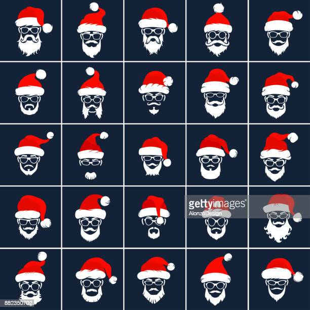 santa claus hipster style icons - beard stock illustrations