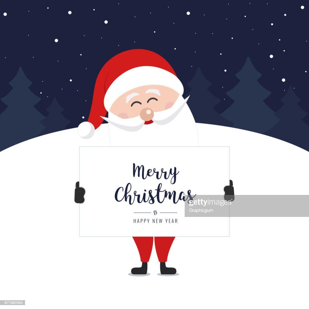 Santa Claus Halten Banner Frohe Weihnachten Gruß Winter Nacht ...