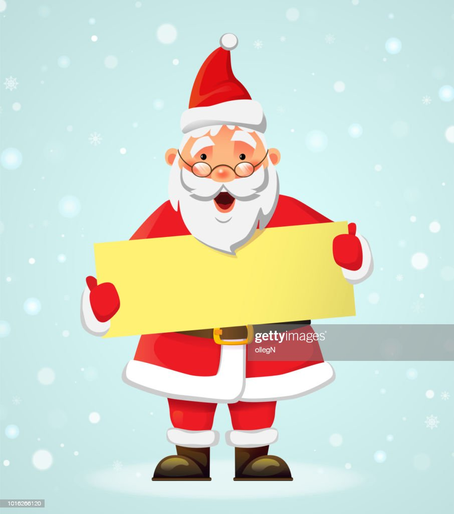 Santa Claus holding banner. Santa Claus vector illustration. Christmas holiday concept