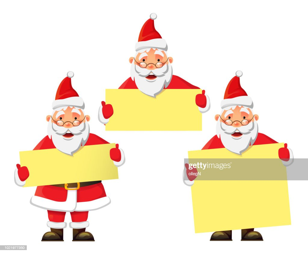 Santa Claus holding banner with space for your text. Santa Claus vector illustration set