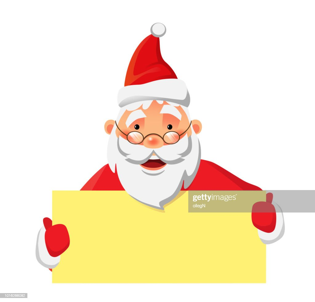Santa Claus holding banner with space for your text. Santa Claus vector illustration