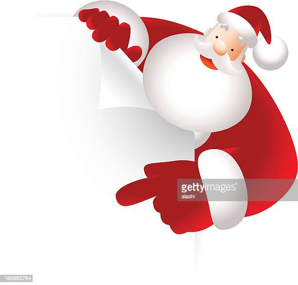 santa claus holding blank sign showing something by index finger - free images stock illustrations