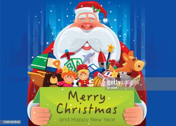 santa claus holding carton of toys