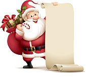 Santa Claus holding paper scroll