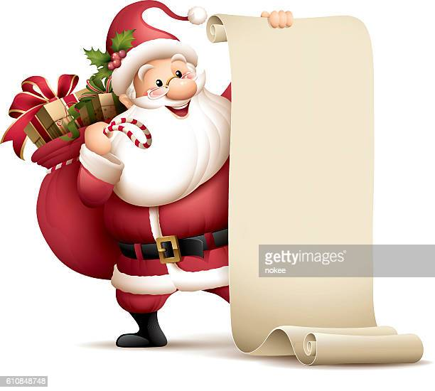 santa claus holding paper scroll - list stock illustrations, clip art, cartoons, & icons