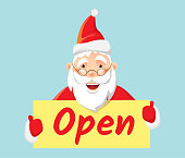 Santa Claus holding poster open