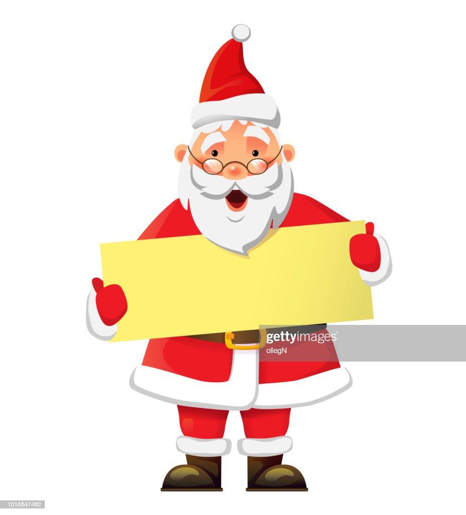 Santa Claus holding poster. Santa Claus vector illustration
