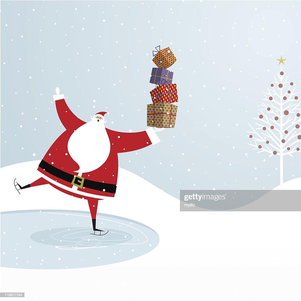 Santa Claus ice skating. Chistmas design
