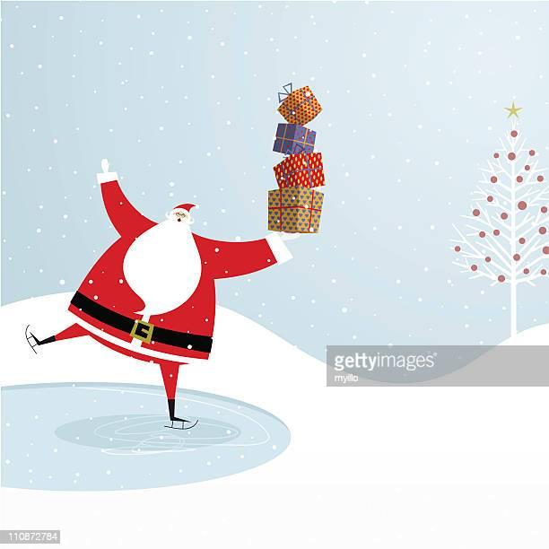 サンタクロースのアイススケートます。クリスマスデザイン