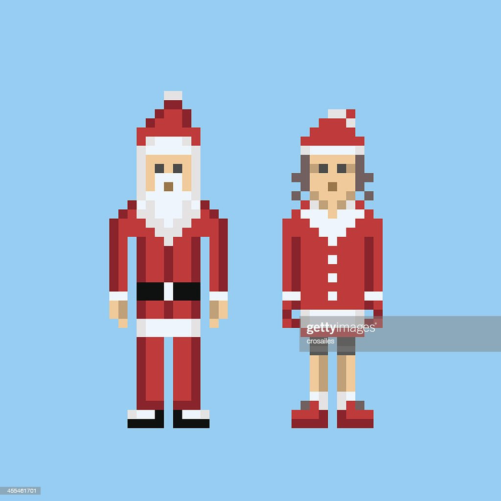 Santa Claus In A Minimalist 8bit Pixel Style High Res Vector