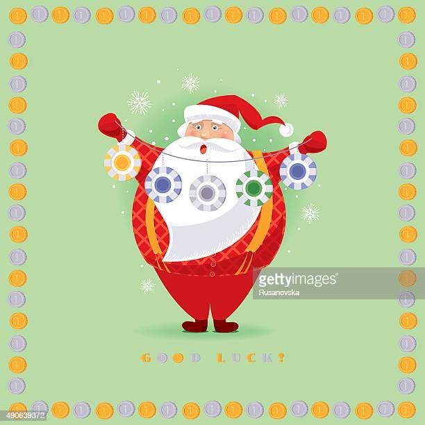 santa claus in casino - christmas cash stock illustrations