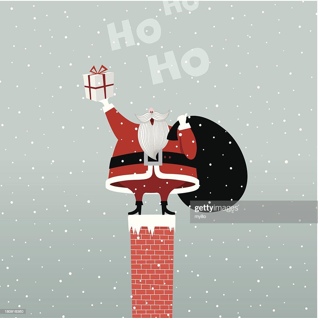 Santa Claus In Chimney retro gift present illustration vector myillo