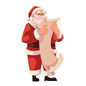 Santa Claus in glasses reading a long scroll of paper