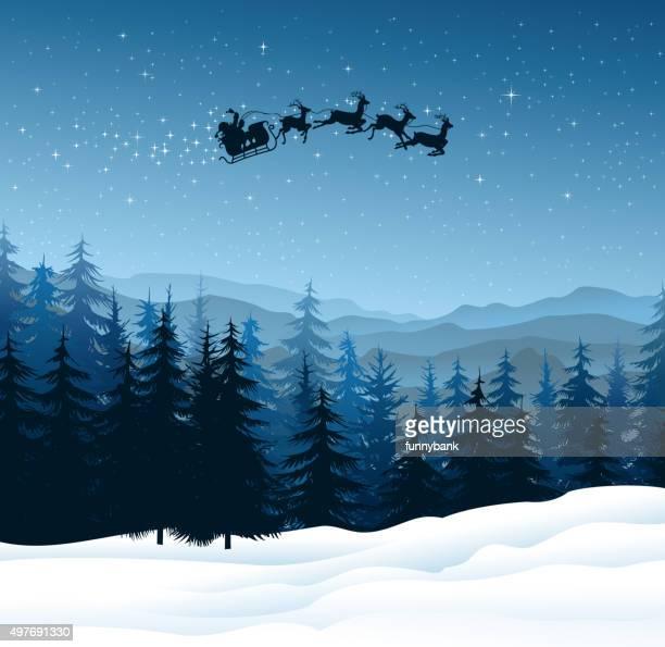 サンタクロースの夜 - サンタ ソリ点のイラスト素材/クリップアート素材/マンガ素材/アイコン素材