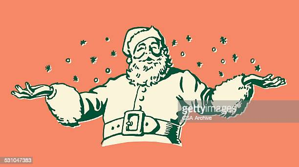 santa claus in snow - funny christmas stock illustrations