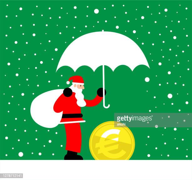 santa claus is holding umbrella to protect european union currency (euro sign coin) money from snowstorm - christmas cash stock illustrations
