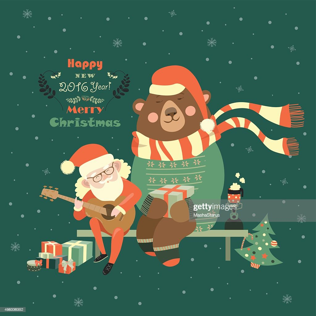 Santa Claus is playing guitar for the bear