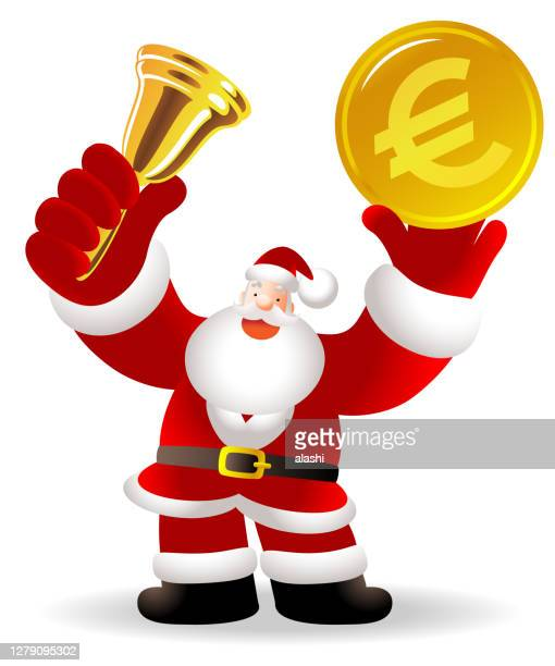 santa claus is ringing a gold bell and holding european union currency (euro sign coin); merry christmas and new year greeting - christmas cash stock illustrations