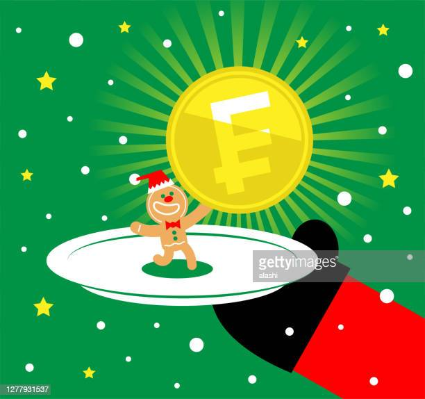 santa claus is serving a plate with a gingerbread man that is holding franc sign coin (french or swiss currency) - christmas cash stock illustrations