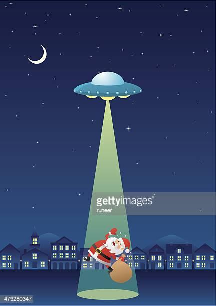 illustrations, cliparts, dessins animés et icônes de santa claus enlevés (portrait - extraterrestre