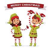 Santa Claus kids cartoon elf helpers vector illustration